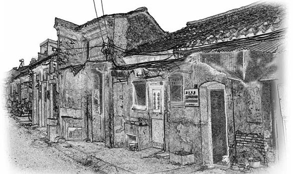 素描--东关街冬荣园旧貌
